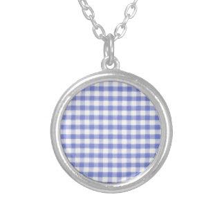 Dark blue gingham pattern custom necklace