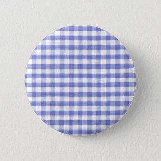Dark blue gingham pattern pinback button