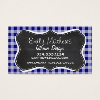 Dark Blue Gingham; Vintage Chalkboard look Business Card