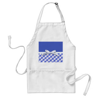 Dark blue gingham with white ribbon bow graphic adult apron