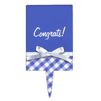 Dark blue gingham with white ribbon bow graphic cake topper