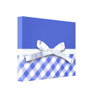 Dark blue gingham with white ribbon bow graphic canvas prints