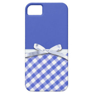 Dark blue gingham with white ribbon bow graphic iPhone 5 cases