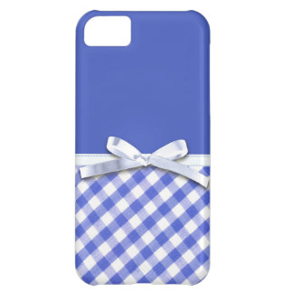 Dark blue gingham with white ribbon bow graphic iPhone 5C cover
