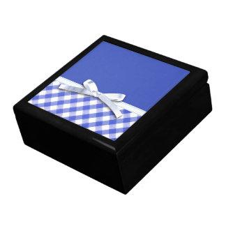 Dark blue gingham with white ribbon bow graphic keepsake boxes