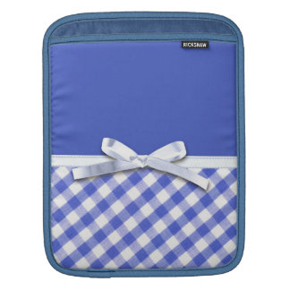 Dark blue gingham with white ribbon bow graphic sleeves for iPads