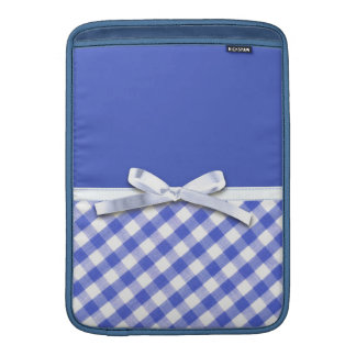Dark blue gingham with white ribbon bow graphic MacBook sleeves
