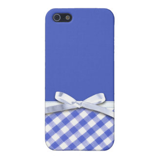 Dark blue gingham with white ribbon bow graphic covers for iPhone 5