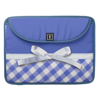 Dark blue gingham with white ribbon bow graphic sleeves for MacBooks