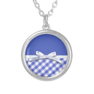 Dark blue gingham with white ribbon bow graphic custom jewelry