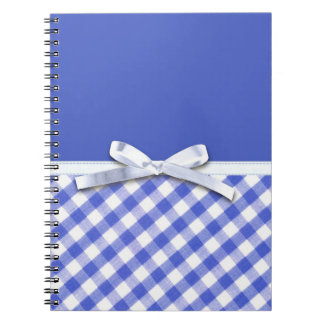 Dark blue gingham with white ribbon bow graphic note books