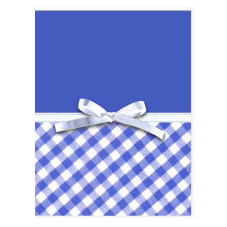 Dark blue gingham with white ribbon bow graphic postcard