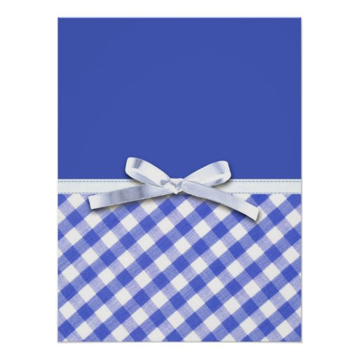 Dark blue gingham with white ribbon bow graphic posters