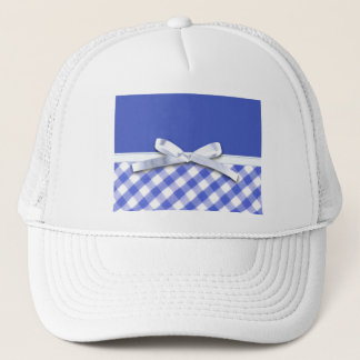Dark blue gingham with white ribbon bow graphic trucker hat
