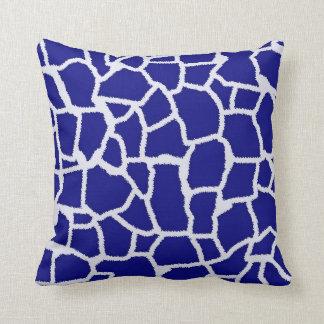 Dark Blue Giraffe Animal Print Throw Pillows