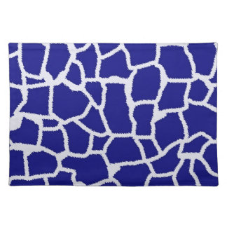 Dark Blue Giraffe Animal Print Place Mat