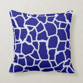 Dark Blue Giraffe Animal Print Throw Pillow