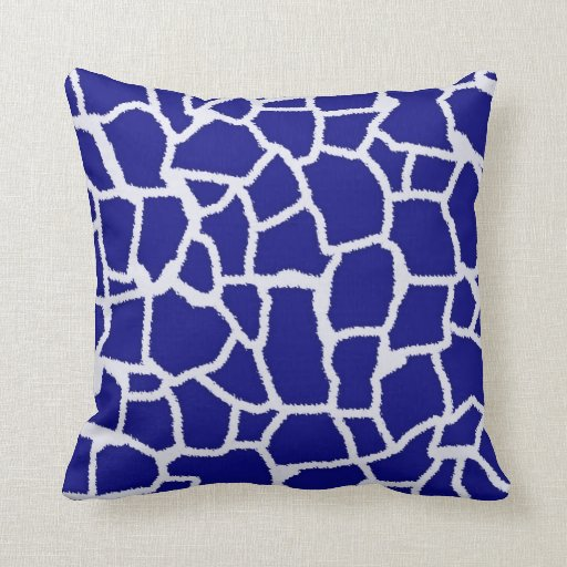 Dark Blue Decorative Pillows : Dark Blue Giraffe Animal Print Throw Pillows Zazzle