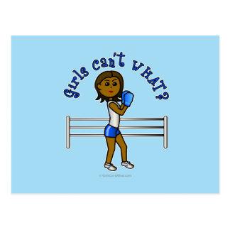Dark Blue Girls Boxing Postcard