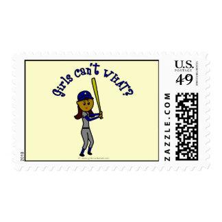Dark Blue Girls Softball Postage