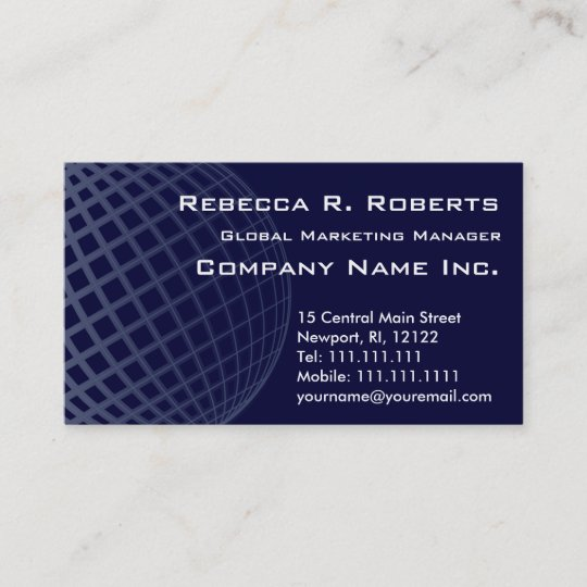 Dark Blue Globe International Marketing Corporate Business Card