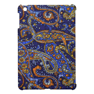 Dark Blue Gold Abstract Twirls iPad Mini Cases