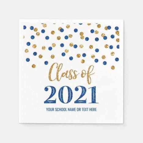 Dark Blue Gold Confetti Class of 2021 Graduation Napkins