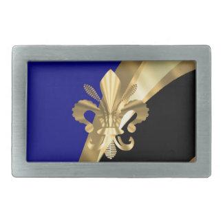 Dark blue & gold fleur de lys belt buckle