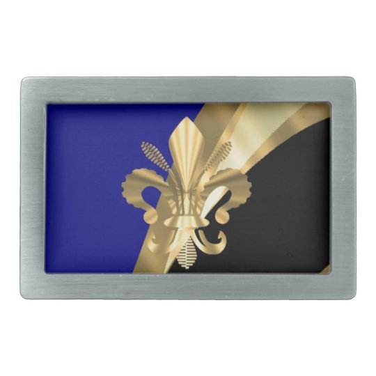 Dark blue & gold fleur de lys belt buckle