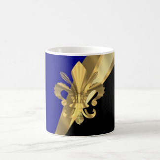Dark blue & gold fleur de lys classic white coffee mug
