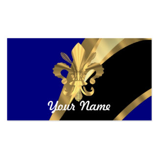Dark blue & gold fleur de lys Double-Sided standard business cards (Pack of 100)