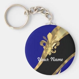 Dark blue & gold fleur de lys keychain