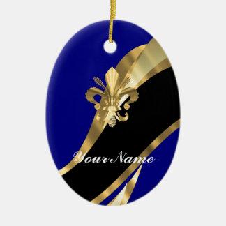 Dark blue gold fleur de lys christmas ornament