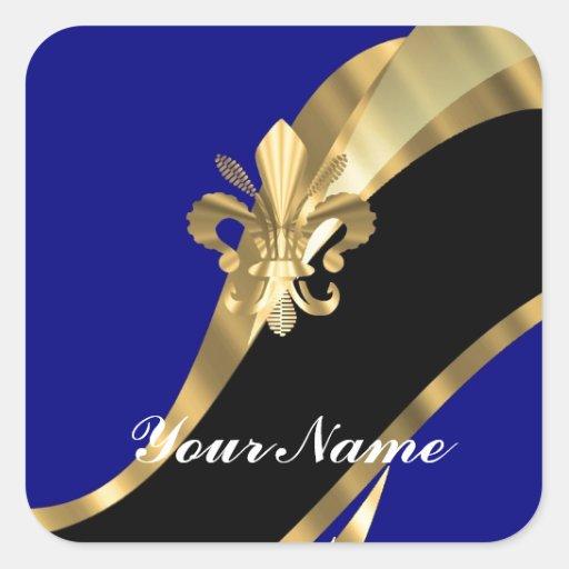 Dark blue & gold fleur de lys square stickers