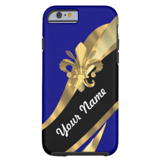 Dark blue & gold fleur de lys tough iPhone 6 case