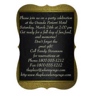 dark blue gold trim border Bracket invitation