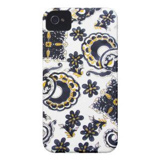 dark blue golden flowers iPhone 4 Case-Mate case