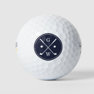 Gifts for Father of the Groom - Dark Blue Golf Clubs Monogram Golf Balls