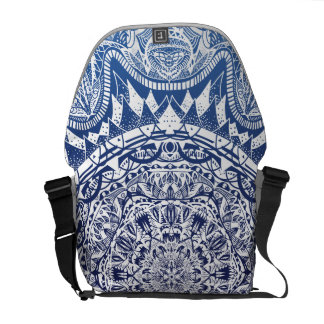 Dark Blue Gradient Mandala Pattern Courier Bag