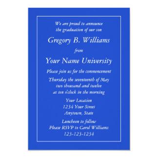 """Dark Blue Graduation Invitations or Announcements 5"""" X 7"""" Invitation Card"""