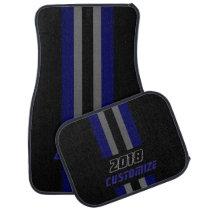 Dark Blue, Gray And Black Race Double Stripes Car Mat