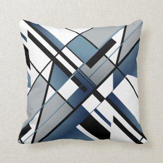 Dark Blue Gray Black White Diagonal Angular Design Throw Pillow