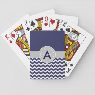 Dark Blue Gray Chevron Playing Cards
