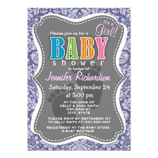 Dark Blue-Gray Damask Personalized Invites
