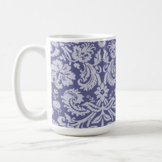 Dark Blue-Gray Damask Classic White Coffee Mug