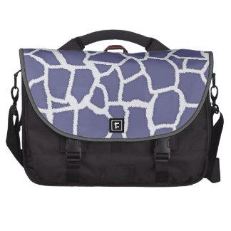 Dark Blue-Gray Giraffe Animal Print Laptop Commuter Bag