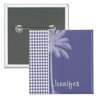 Dark Blue-Gray Houndstooth Palm Pinback Buttons