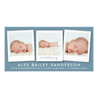 Dark Blue Gray New Baby Announcement with 3 Photos