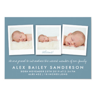 Dark Blue Gray New Baby Birth Announcement Photo