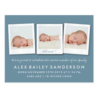Dark Blue Gray New Baby Birth Announcement Photo Postcard
